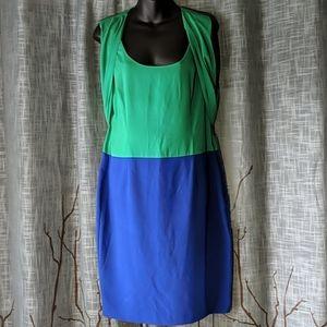 Calvin Klein Colorblock Green Blue Drape Dress